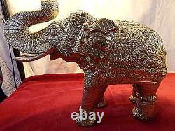 Silver Elephants Vintage Carved Vintage Indian Oriental Animal Large 35cm 2.5kg