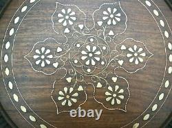 Superb Vintage Inlaid Folding Anglo/ Indian Side Table With Doors