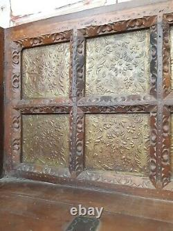 Unique Antique Vintage Indian Wooden Brass Dowry Chest Chair Bench Seat Dog Bed