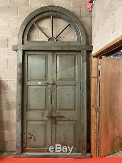 VINTAGE 19th CENTURY LARGE WOODEN INDIAN ARCH DOOR WITH FRAME