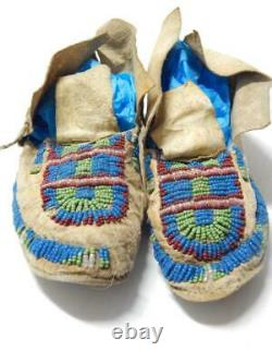 VINTAGE ANTIQUE 1890s ARAPAHO INDIAN BEADED MOCCASINS SINEW HARD SOLES WYOMING