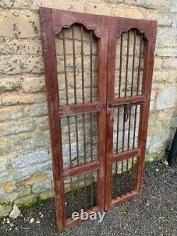 VINTAGE WOODEN SHUTTERS WINDOW ANTIQUE Indian HARD WOOD JAIL DOORS 142CMX78CM