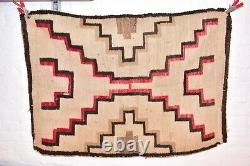 VTG Navajo Rug Native American Indian Weaving Textile 46x35 Antique Transitional