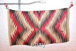 VTG Navajo Rug Native American Indian Weaving Textile 50x27 Antique Eye Dazzler