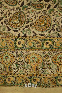Vintage 1940's Block Printed Persian Kalamkari Paisley Cloth Wall Hanging Indian