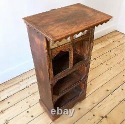 Vintage 19th Century Victorian Antique Indian Carved Cabinet Bookshelves Cupboar