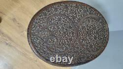Vintage Antique Asian Intricately Carved Pair Of Dragons Hardwood Side Table