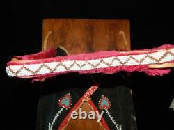 Vintage Antique Chippewa Ojibwa Woodlands Indian Beaded Cradleboard