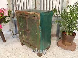Vintage Antique Indian Reclaimed Rustic Small Side Bedside Cabinet