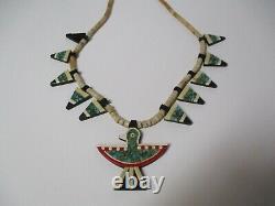 Vintage Antique Inlay Necklace And Pendant Arrowhead Bird Santa Domingo Indian