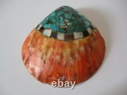Vintage Antique Large Santa Domingo Stone Inlay Shell 3.5 Inch Older Indian Art