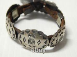 Vintage Antique Navajo Indian Preharvey Ingot Sterling Bracelet Concho Belt Styl