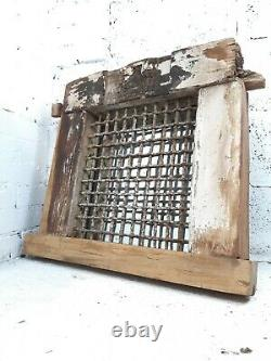 Vintage Antique Old Reclaimed Indian Wooden Iron Jali Window Frame Mirror Garden