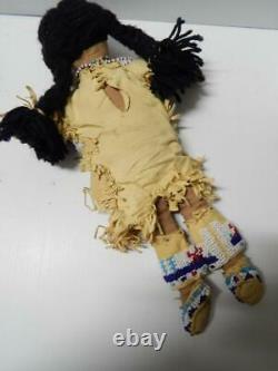 Vintage Antique Yakima Plateau Indian Doll Old Fully Beaded Yoke Leggins Mocs
