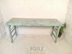 Vintage Authentic Rustic Indian Blue Folding Wooden Wedding Events Table