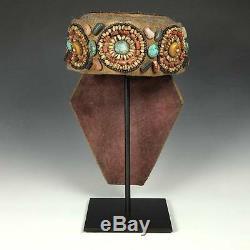 Vintage Beaded Semi-precious Stones Perak Cap Adornment Ornament Ladakh India