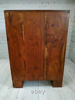 Vintage Bedside Cabinet Chest of Drawers Jali Sheesham Wood Indian Bedside Table