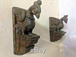 Vintage Bird Peacock Wooden Corbel Pair Bracket Ornament Wall Hanging Sculpture