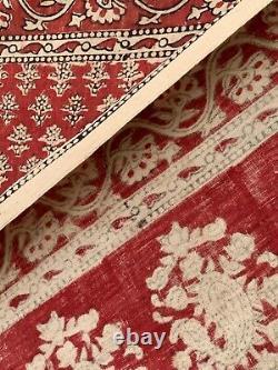 Vintage Block Printed Kalamkari Floral Wall Hanging red fabric Indian pattern