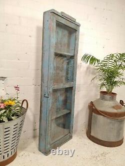 Vintage Blue Indian Solid Wooden Glazed Display Bathroom Kitchen Wall Cabinet