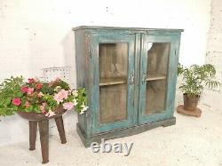 Vintage Blue Indian Wooden Glazed Display Kitchen Bathroom Cabinet Bookcase
