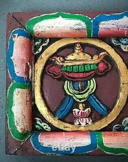 Vintage, Buddhist Eight Auspicious Symbols Wooden Frieze. Tibet. Nepal