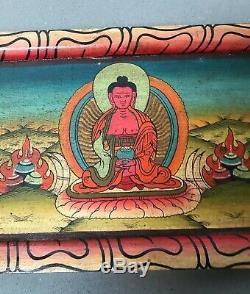 Vintage, Buddhist Five Dhyana Wooden Frieze. Tibet. Kathmandu, Nepal
