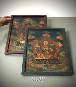 Vintage Buddhist Thangka. Tibet. India. Nepal. Religious Icon On Wood. Larger