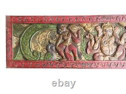 Vintage Carving Boho Carved Sitting Ganesha Headboard Rustic 72 CLEARANCE