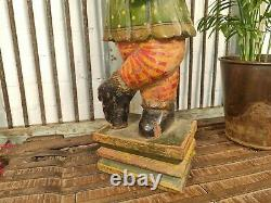 Vintage Hand Carved Painted Wooden Indian Guard Statue Sculpture