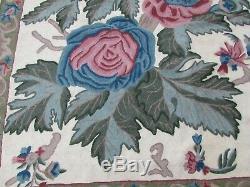 Vintage Hand Made Indian Kashmir Wool White Green Hooked Stitchwork 360x267cm
