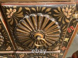 Vintage Handpainted Indian Rajasthani Chest Of Drawers