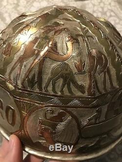 Vintage Heavily Engraved Hard Hat Conoco Cairo Eqypt Hand Carved