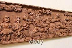 Vintage Hindu God Ganesha Wall Panel Sculpture Hand Carved Wooden Indian Diety