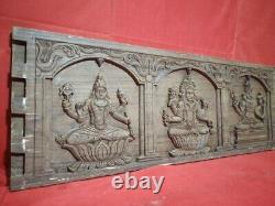Vintage Hindu God Shiva Vishnu Temple Wall Panel Rosewood Sculpture Statue Art