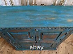 Vintage INDIAN Painted Hardwood TEAL Blue Rustic Cabinet Cupboard Sideboard Unit