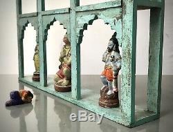Vintage Indian Arched Display Unit. Nine Mughal Arched. Baby Blue & Eau De Nil