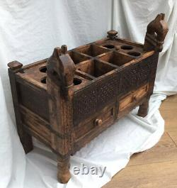 Vintage Indian Asian Hand Carved Wood Drawers Chest Sideboard Horse Iron Work