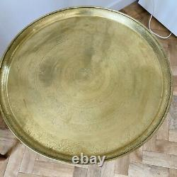 Vintage Indian Brass Top Folding Table