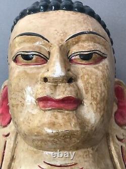 Vintage Indian Buddha Mask. Nepalese Tibet Hindu, Buddhist Deity. Hand-carved