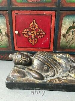 Vintage Indian Buddhist Nirvan Reclining Buddha. Kathmandu Nepal. Gilded