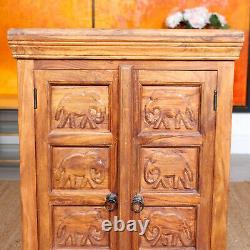 Vintage Indian Cabinet Carved Elephant Mango Wood Cupboard