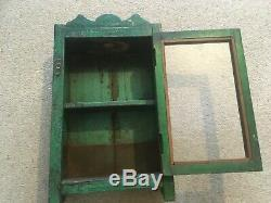 Vintage Indian Cabinet Cupboard Furniture Green Glass Distressed Antique