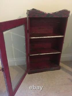 Vintage Indian Cabinet Cupboard Furniture Red Green Glass Distressed Antique