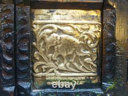 Vintage Indian Cabinet layered paint on dark wood with embossed metal panels