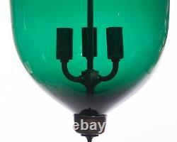 Vintage Indian Large Green Glass Bell Jar Pendant Light