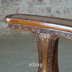 Vintage Indian Mahogany With Brass Inlay Smokers Chair