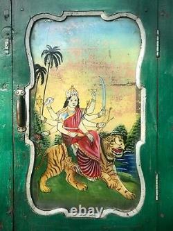 Vintage Indian Reverse Glass Painting. Durga In Art Deco Framed Door. Antique