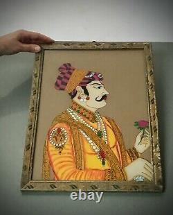 Vintage Indian Reverse Glass Painting. Hindu Deity, Rama. Large, Art Deco Frame
