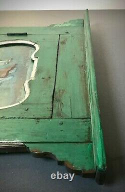 Vintage Indian Reverse Glass Painting. Krishna In Art Deco Framed Door. Antique
